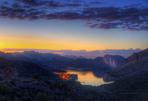 sunset view of canyon lake in Arizona
