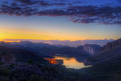 sunset view of canyon lake in Arizona