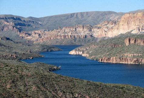 view of apache lake and the canyon it carved