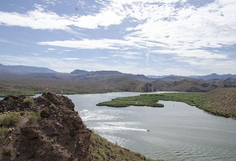 view of beautiful saguaro lake and its mountains