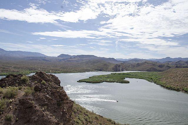 view of beautiful saguaro lake and its mountains