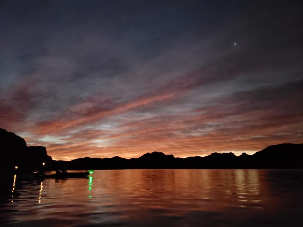glowy sunset at Saguaro Lake
