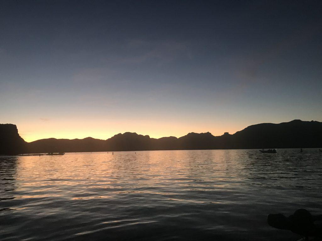 beautiful sunrise view of Saguaro lake
